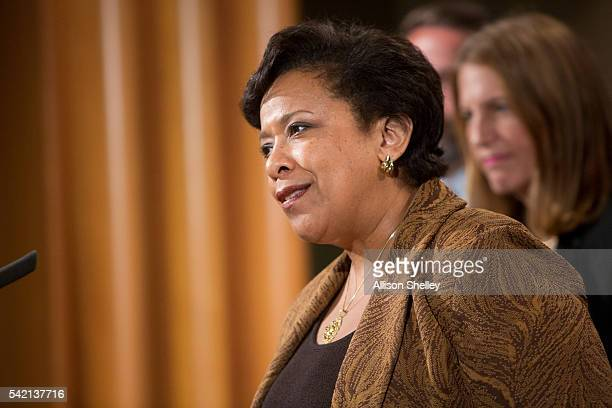 Attorney General Loretta E Lynch speaks at a press conference on June 22 2016 in Washington DC Lynch and other government officials announced the...