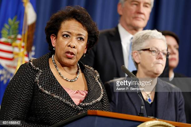Attorney General Loretta Lynch announces a settlement with Volkswagen in their emissions controversy at the Justice Department on January 11 2017 in...