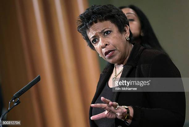 S Attorney General Loretta Lynch answers questions during a press conference at the Department of Justice December 7 2015 in Washington DC Lynch...