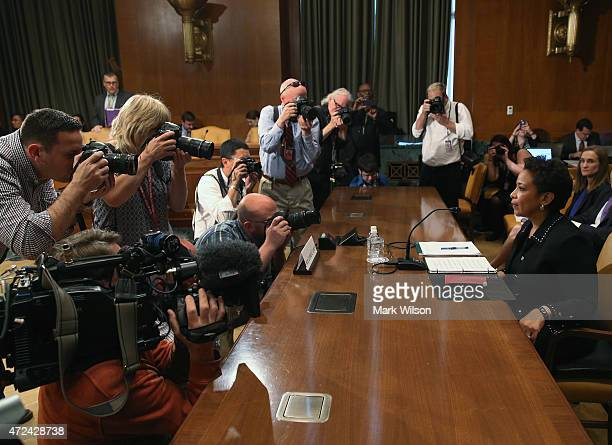 S Attorney General Loretta Lynch appears before the Senate Appropriations Committee hearing on Capitol Hill May 7 2015 in Washington DC The committee...
