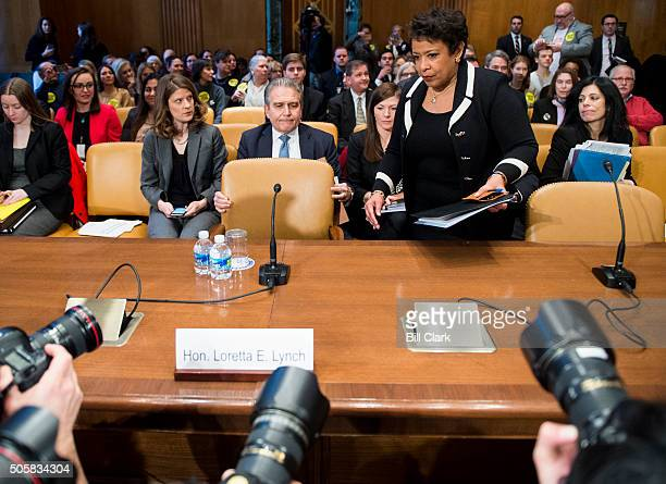 Attorney General Loretta Lynch arrives for the Senate Appropriations Committee Commerce Justice Science and Related Agencies Subcommittee hearing on...