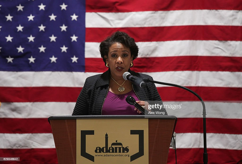 U.S. Attorney General Loretta Lynch delivers a speech at the All Dulles Area Muslim Society (ADAMS) Center December 12, 2016 in Sterling, Virginia. Lynch spoke to religious leaders and community members about the Department of Justice's efforts to combat hate crimes.