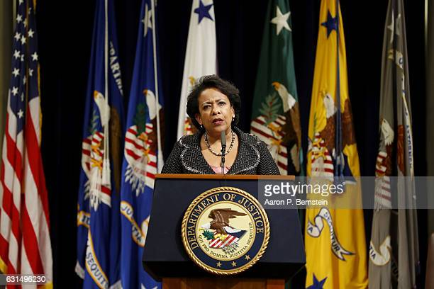 Attorney General Loretta Lynch delivers her farewell address at the Justice Department on January 11 2017 in Washington DC Lynch thanked employees of...