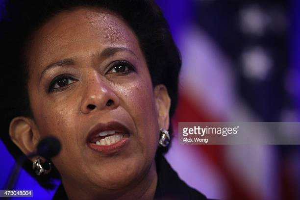 S Attorney General Loretta Lynch delivers opening remarks during a summit held by the National Forum on Youth Violence Prevention May 12 2015 in...