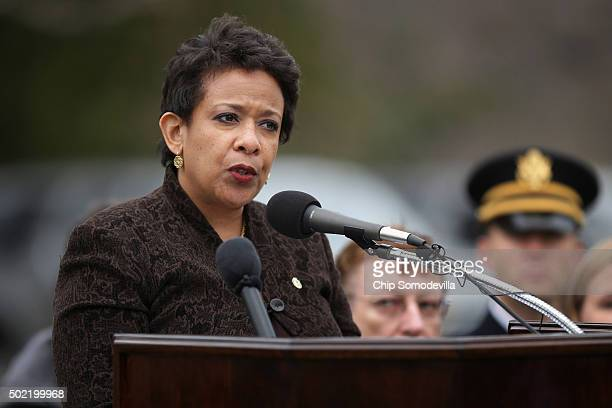 S Attorney General Loretta Lynch delivers remarks during a memorial service for the victims of the 1988 Pan Am Flight 103 terrorist bombing at the...