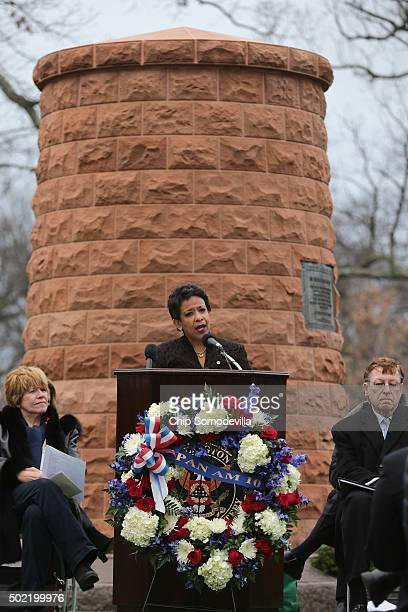 S Attorney General Loretta Lynch delivers remarks during a memorial service for the victims of the 1988 Pan Am Flight 103 terrorist bombing with...