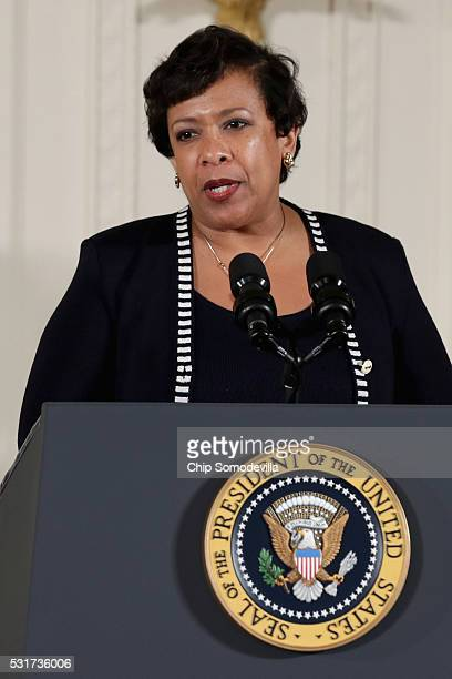 S Attorney General Loretta Lynch delivers remarks during the Public Safety Office Medal of Valor ceremony in the East Room of the White House May 16...
