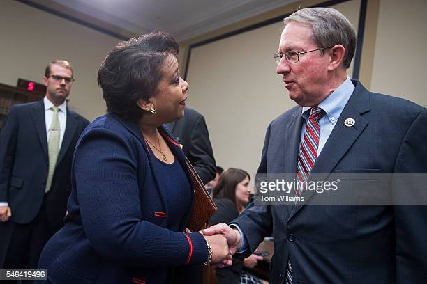 Attorney General Loretta Lynch greets Chairman Bob Goodlatte RVa before a House Judiciary Committee hearing in Rayburn Building on Justice Department...