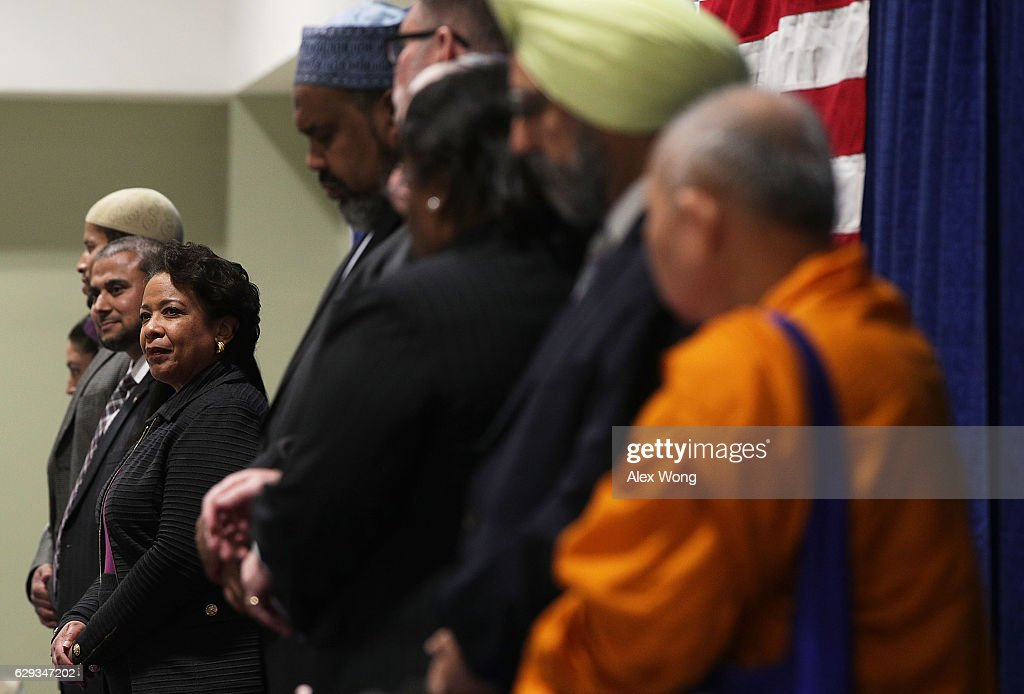 U.S. Attorney General Loretta Lynch participates in an event at the All Dulles Area Muslim Society (ADAMS) Center December 12, 2016 in Sterling, Virginia. Lynch spoke to religious leaders and community members about the Department of Justice's efforts to combat hate crimes.