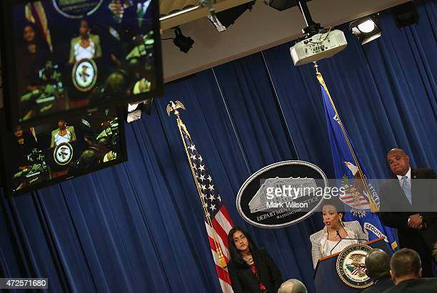 Attorney General Loretta Lynch speaks about Baltimore While flanked by Ronald Davis , Director of the Office of Community Oriented Policing Services,...
