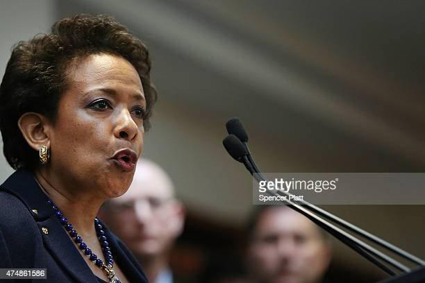 Attorney General Loretta Lynch speaks at a packed news conference at the US Attorneys Office of the Eastern District of New York following the early...