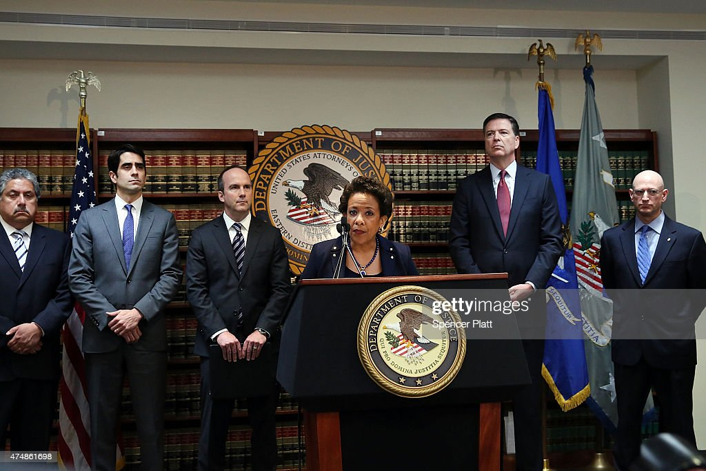 Attorney General Lynch And FBI Director Comey Announce Indictment Of FIFA Officials : News Photo