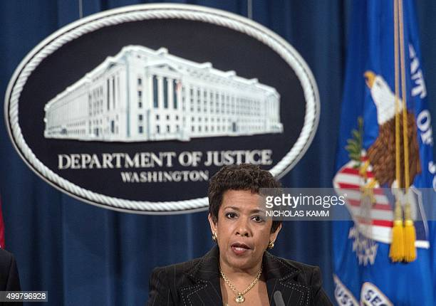 Attorney General Loretta Lynch speaks at a press conference about the corruption scandal engulfing FIFA at the Justice Department in Washington, DC,...