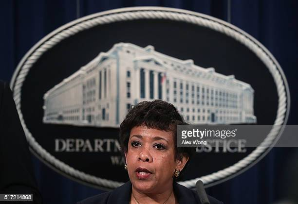 S Attorney General Loretta Lynch speaks during a news conference for announcing a law enforcement action March 24 2016 in Washington DC A grand jury...