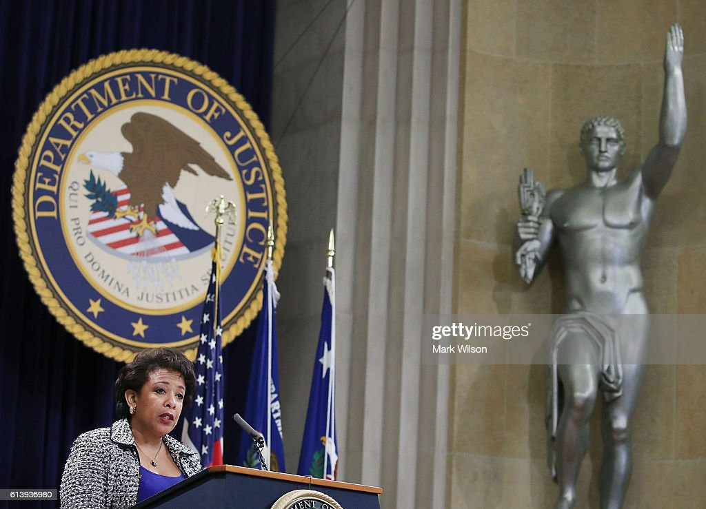 U.S. Attorney General Loretta Lynch speaks during the annual Justice Department Hispanic Heritage Month program, at the Justice Department October 11, 2016 in Washington, DC. During Hispanic Heritage month the federal government and communities across the country take time to acknowledge the contributions of Hispanic Americans to the nation.