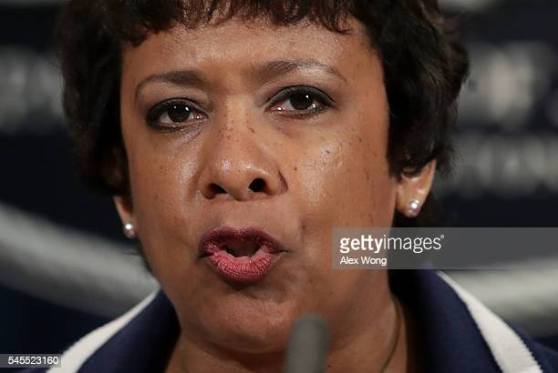 S Attorney General Loretta Lynch speaks to members of the media as she makes a statement on the Dallas killing of police officers July 8 2016 at the...