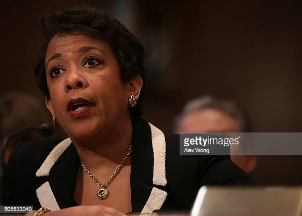S Attorney General Loretta Lynch testifies during a hearing before the Commerce Justice Science and Related Agencies Subcommittee of the Senate...