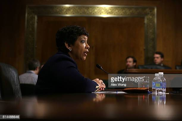 S Attorney General Loretta Lynch testifies during a hearing before the Senate Judiciary Committee March 9 2016 on Capitol Hill in Washington DC The...