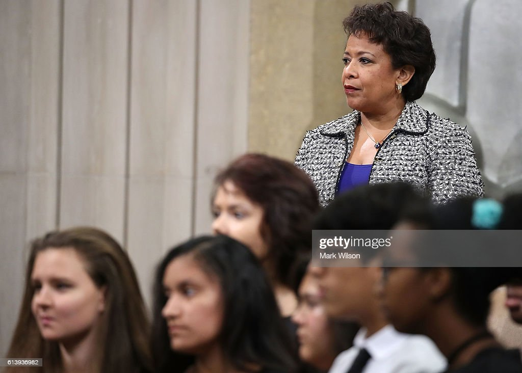 U.S. Attorney General Loretta participates in the annual Justice Department Hispanic Heritage Month program, at the Justice Department October 11, 2016 in Washington, DC. During Hispanic Heritage month the federal government and communities across the country take time to acknowledge the contributions of Hispanic Americans to the nation.