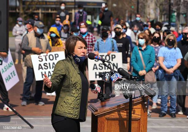 Attorney General Maura Healey speaks to the crowd during a Stop Anti-Asian Hate rally in Fields Corner in Bostons Dorchester on April 10, 2021.