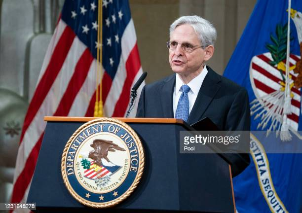 Attorney General Merrick Garland addresses the staff on his first day at the Department of Justice March 11, 2021 in Washington, DC. Garland, a one...
