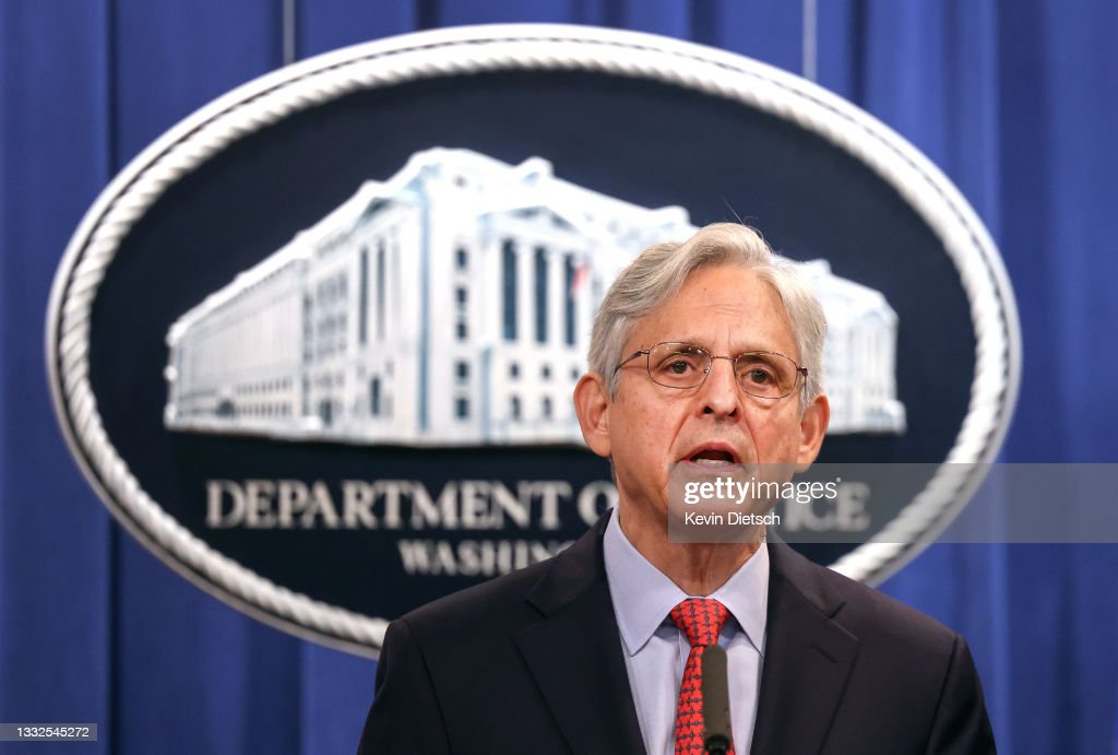 Attorney General Garland Holds  Press Conference On Civil Rights Matter At DOJ : News Photo