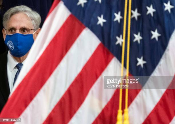 Attorney General Merrick Garland arrives to address staff on his first day at the US Department of Justice in Washington, DC on March 11, 2021. -...