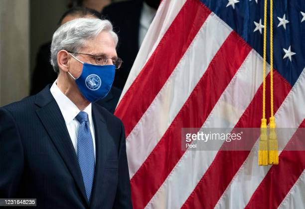 Attorney General Merrick Garland arrives to address the staff on his first day at the Department of Justice March 11, 2021 in Washington, DC....