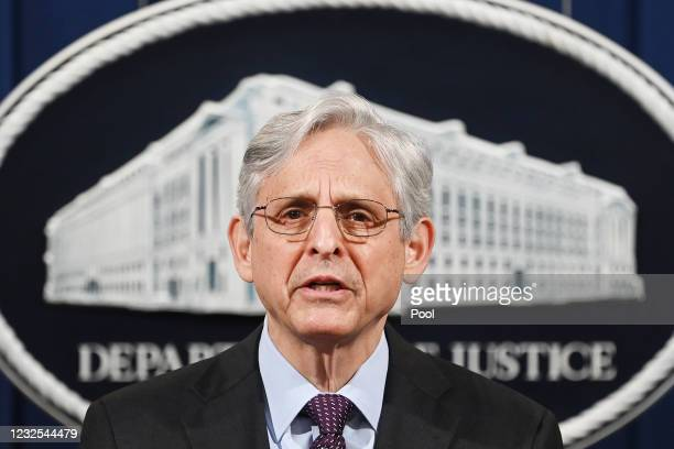Attorney General Merrick Garland delivers a statement at the Department of Justice on April 26, 2021 in Washington, DC. Garland announced that the...