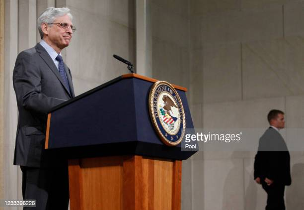 Attorney General Merrick Garland delivers remarks on voting rights at the U.S. Department of Justice on June 11, 2021 in Washington, DC. Garland...