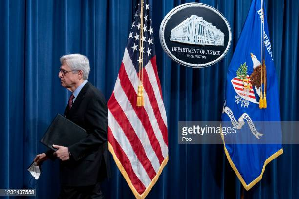 Attorney General Merrick Garland leaves after speaking about a jury's verdict in the case against former Minneapolis Police Officer Derek Chauvin in...