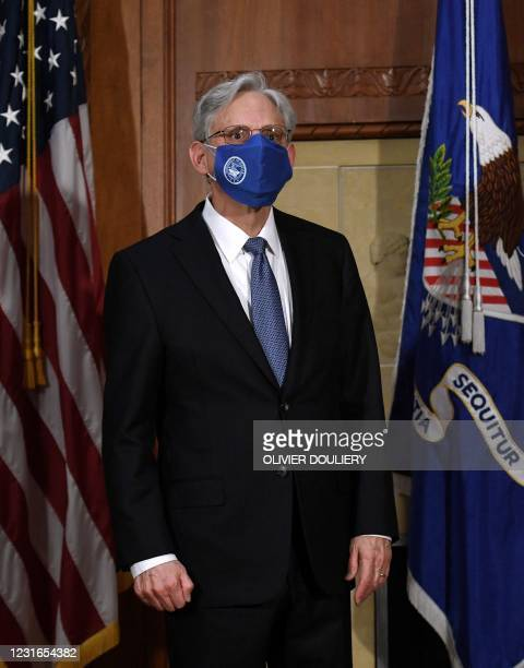 Attorney General Merrick Garland looks on after being ceremonially sworn in at the US Department of Justice on March 11, 2021 in Washington, DC.