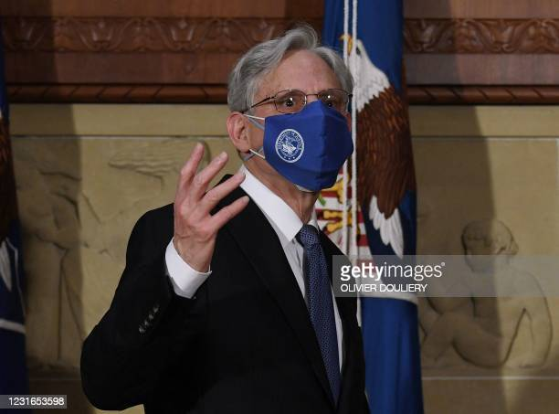 Attorney General Merrick Garland speaks after being ceremonially sworn in at the US Department of Justice on March 11, 2021 in Washington, DC.