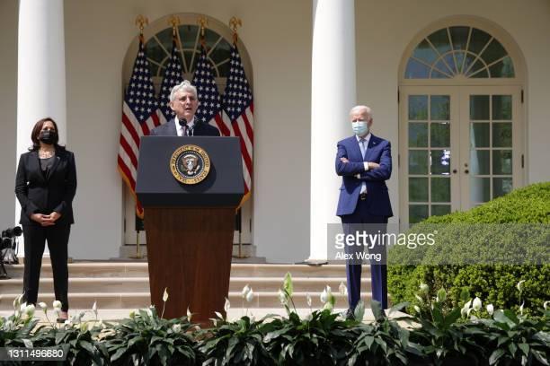 Attorney General Merrick Garland speaks as President Joe Biden and Vice President Kamala Harris listen during an event on gun control in the Rose...