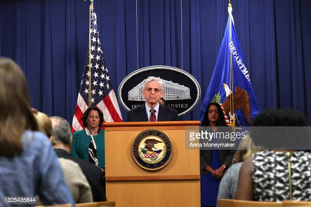 Attorney General Merrick Garland speaks at a news conference at the Department of Justice on June 25, 2021 in Washington, DC. Justice Garland held...