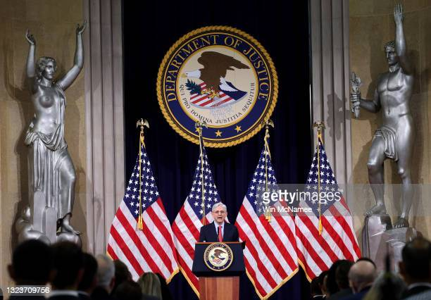 Attorney General Merrick Garland speaks during an event at the Justice Department on June 15, 2021 in Washington, DC. Garland addressed domestic...