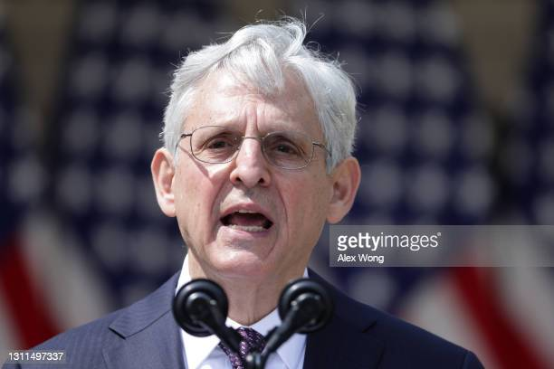 Attorney General Merrick Garland speaks during an event on gun control in the Rose Garden at the White House April 8, 2021 in Washington, DC....