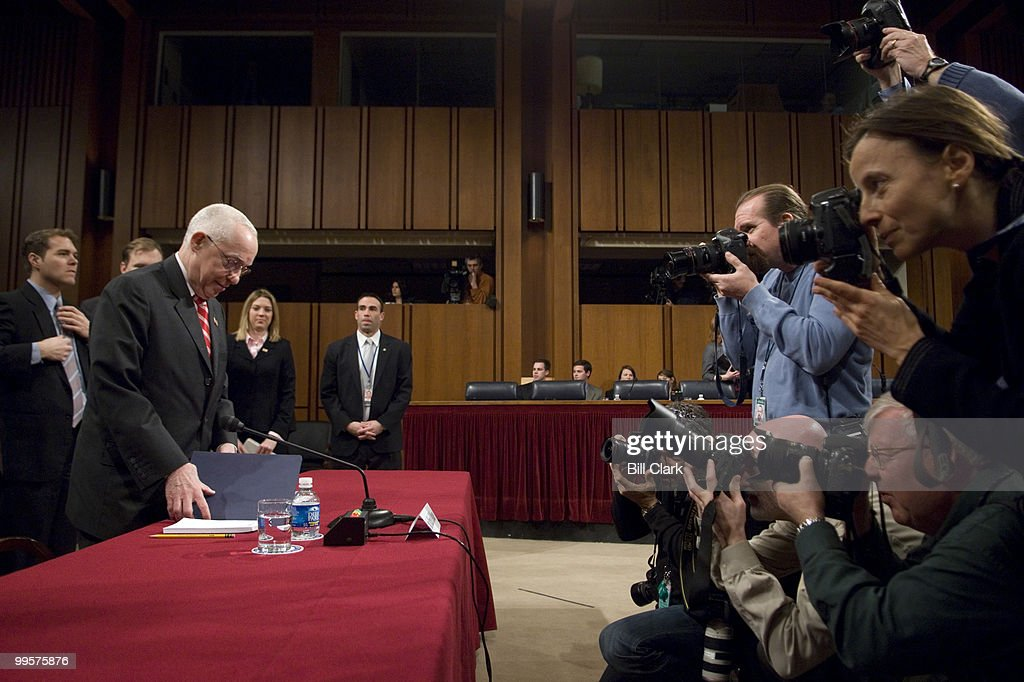 Attorney General Michael Mukasey arrives to testiy during the Senate Judiciary Committee hearing on 'Oversight of the U.S. Department of Justice' on Wednesday, Jan. 30, 2008.