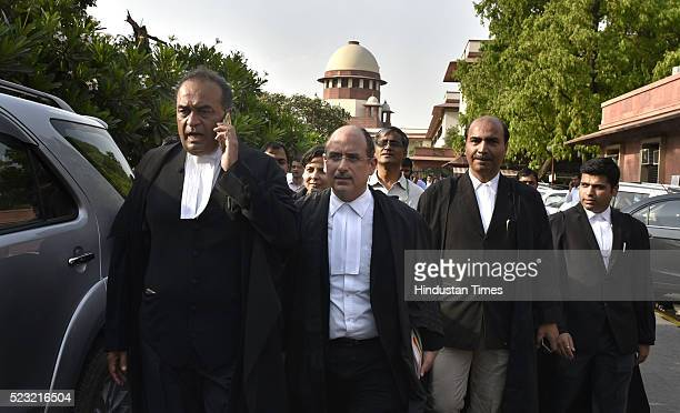 Attorney General Mukul Rohatgi and senior advocate Nalin Kohli coming out after the decision on Uttrakhand Government at Supreme Court on April 22...