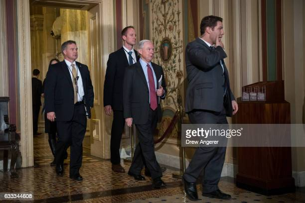 Attorney General nominee Jeff Sessions walks through the US Capitol February 1 2017 in Washington DC Sessions was approved by the Senate Judiciary...
