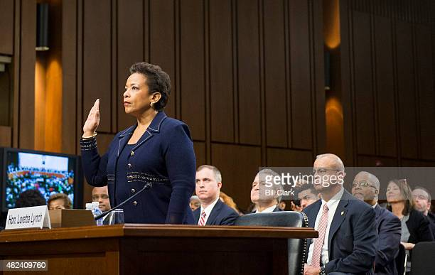 S Attorney General nominee Loretta Lynch is swornin during her confirmation hearing in the Senate Judiciary Committee on Wednesday Jan 28 2015