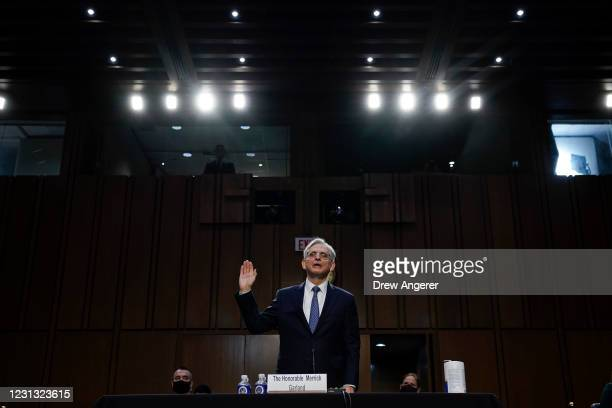 Attorney General nominee Merrick Garland is sworn-in during his confirmation hearing before the Senate Judiciary Committee in the Hart Senate Office...