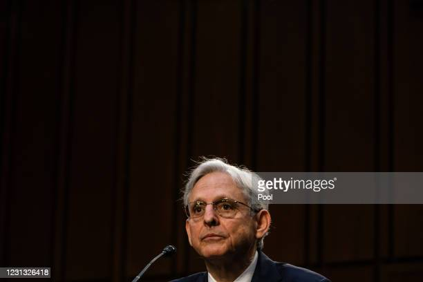 Attorney General nominee Merrick Garland speaks during his confirmation hearing in the Senate Judiciary Committee on Capitol Hill on February 22,...