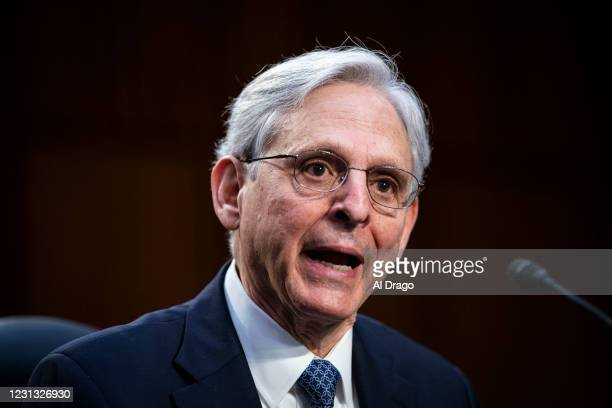Attorney General nominee Merrick Garland speaks during his confirmation hearing before the Senate Judiciary Committee in the Hart Senate Office...