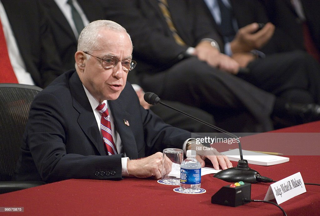 U.S. Attorney General nominee Michael Mukasey testifies during the Senate Judiciary Committee hearing on his nomination to be attorney general of the United States on Wednesday, Oct. 17, 2007.