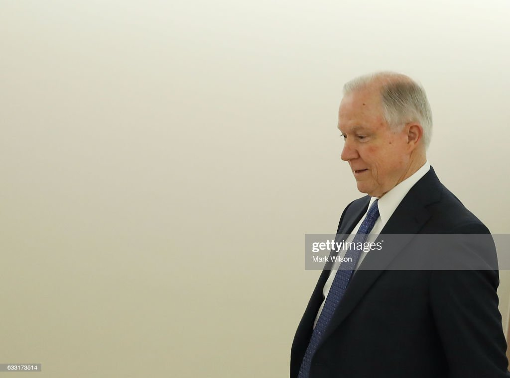 Attorney General nominee, Sen. Jeff Sessions (R-AL), walks away from a Senate Energy and Natural Resources committee hearing on Capitol Hill, January 31, 2017 in Washington, DC. The committee met to vote on the nomination of Rep. Ryan Zinke (R-MT) to be Interior Secretary, and former Gov. Rick Perry (R-TX) to be Energy Secretary.