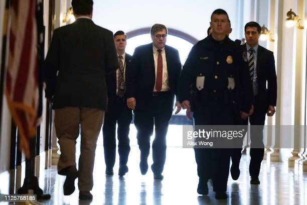 Attorney General nominee William Barr arrives at a meeting with Sen. James Risch at Senate Russell Office Building January 28, 2019 on Capitol Hill...
