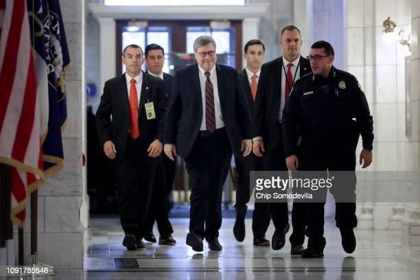 S Attorney General nominee William Barr arrives for a meeting with Senate Judiciary Committee member Sen Lindsay Graham in his office in the Russell...
