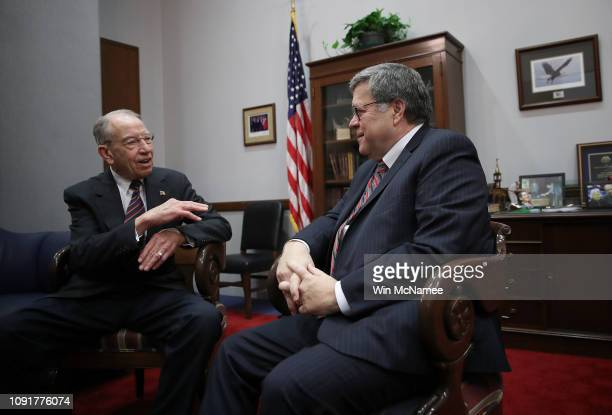 Attorney General nominee William Barr meets with Sen. Chuck Grassley , chair of the Judiciary Committee January 9, 2019 on Capitol Hill in...