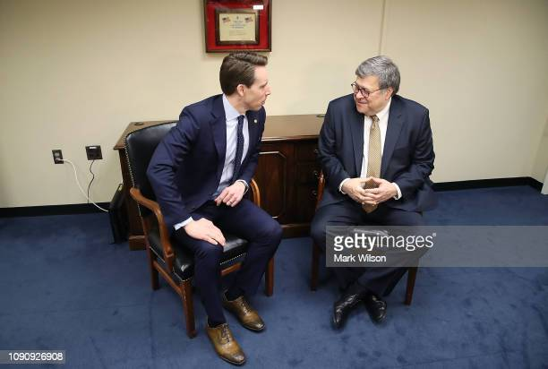 Attorney General nominee William Barr meets with Sen Josh Hawley on January 29 2019 in Washington DC Today Mr Barr has several closed meetings...